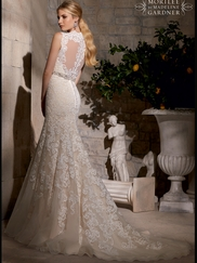 Queen Anne Neckline Beaded Net Mermaid Mori Lee Wedding Dress 2719