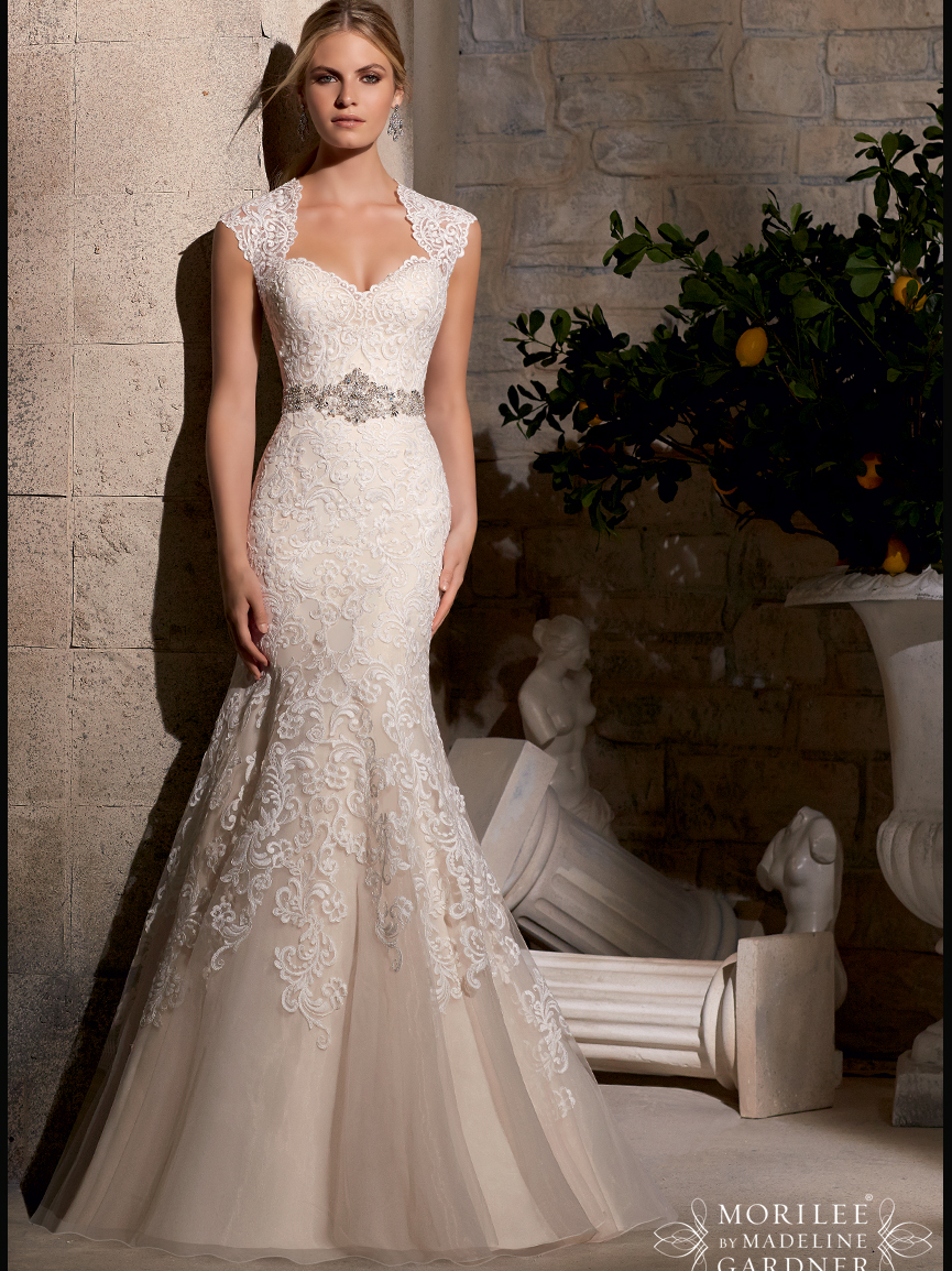 Mori lee bridal gown 2719 for Queen anne neckline wedding dress