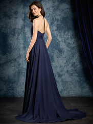 Sapphire Alfred Angelo 8108L Illusion Halter Bridesmaids Dress