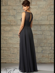 Scoop Neckline Ruched Floor Length Angelina Faccenda Bridesmaid Dress 20451
