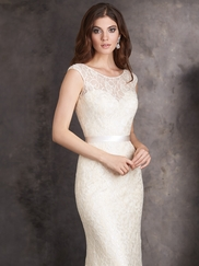 Sequined Lace Deep V-Back Allure Bridesmaids Dress 1405