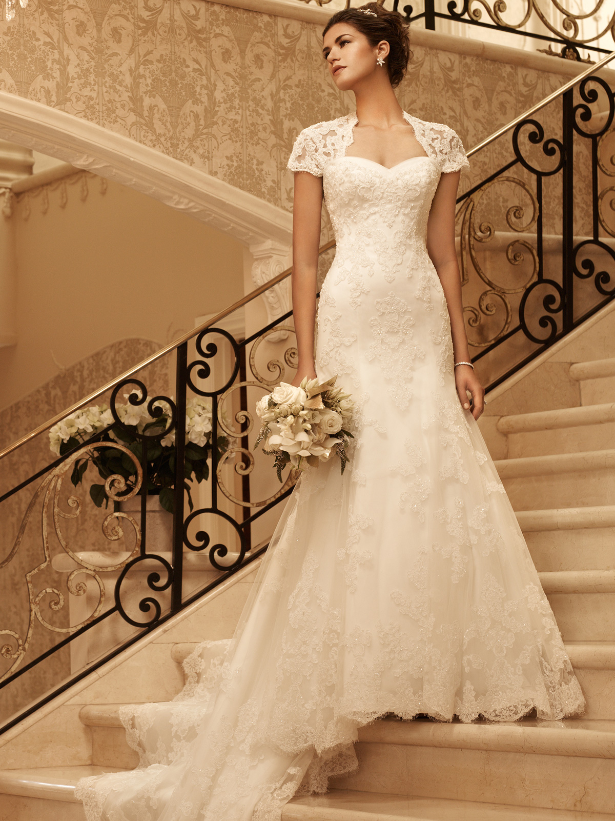 short sleeve fit and flare casablanca bridal gown 2102