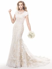 Short Sleeves Beaded Lace Bridal Gown Maggie Sottero Nadine