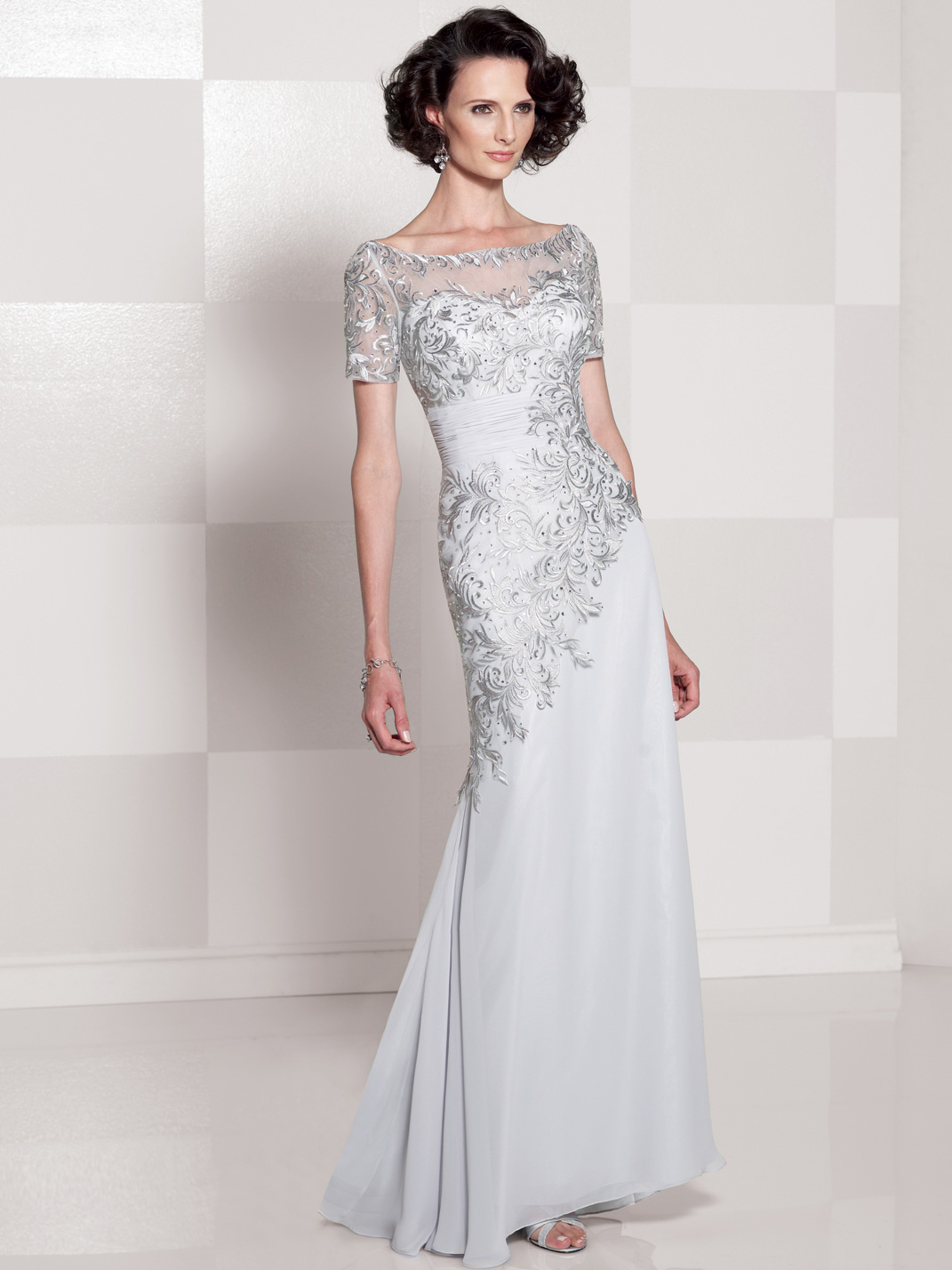 Sleeved Hand-Beaded Bodice Cameron Blake Mother Of The Bride Dress ...