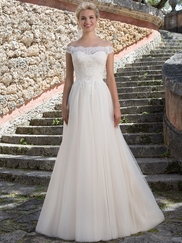 Sincerity 3889 Portrait Neckline Wedding Dress