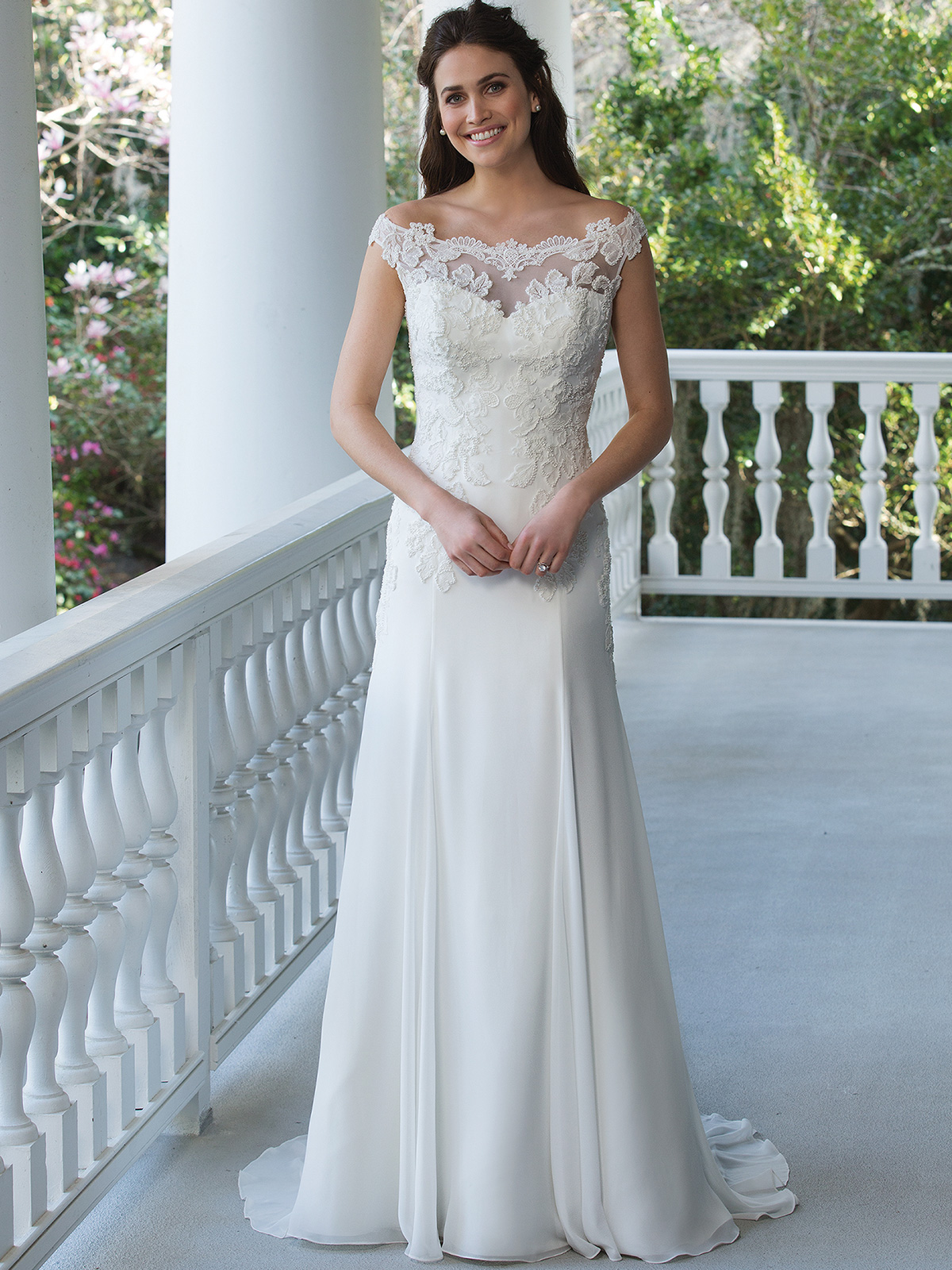 Sincerity 3950 Chiffon Off The Shoulder Bridal Dress|DimitraDesigns.com