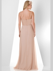 Spaghetti Strap Pleated Bridesmaid Dress Bari Jay 882