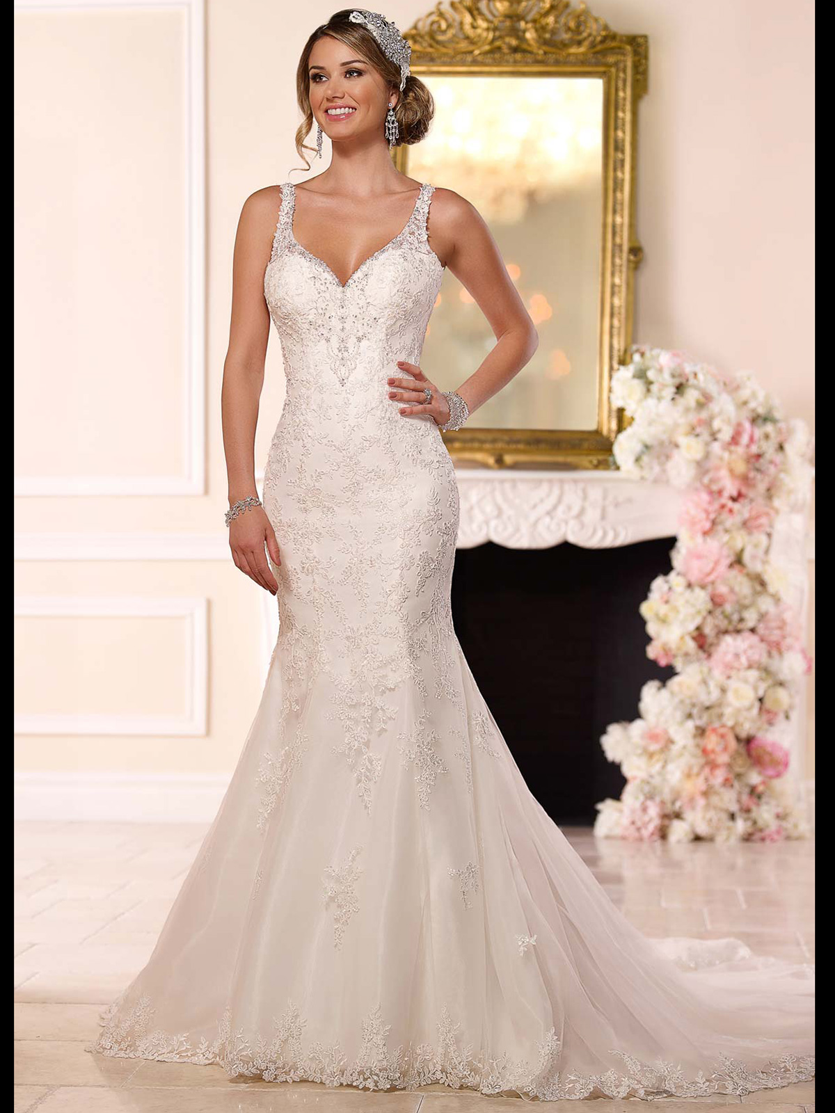 Stella York 6217 V-neck Fit And Flare Wedding Dress|DimitraDesigns.com