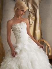 Strapless Beaded Embroidery Bridal Gown Mori Lee 1910
