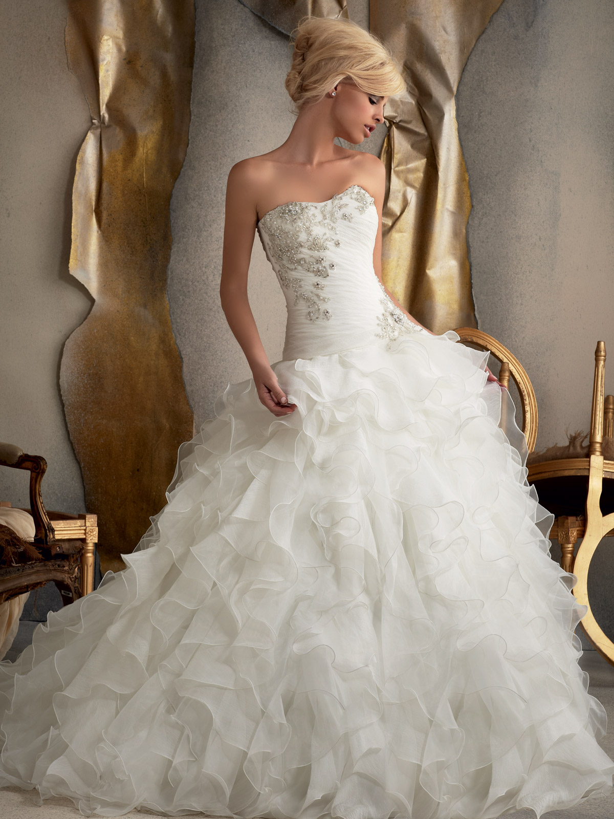 Strapless Ball Gown Mori Lee Bridal Gown 1910|DimitraDesigns.com