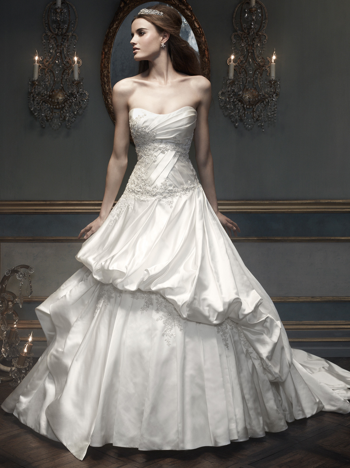 Strapless Pleated And Beaded Bridal Gown Cb Couture B065