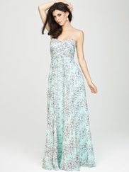 Strapless Printed Allure Bridesmaids Long Dress 1438
