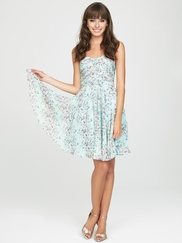 Strapless Printed Allure Bridesmaids Short Dress 1437