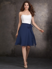 Strapless Ruched Bodice Allure Bridesmaids Dress 1402