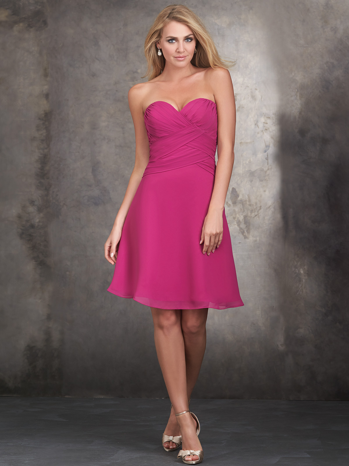 Allure Bridesmaids A-Line Ruched Bodice Short Dress 1428 ...