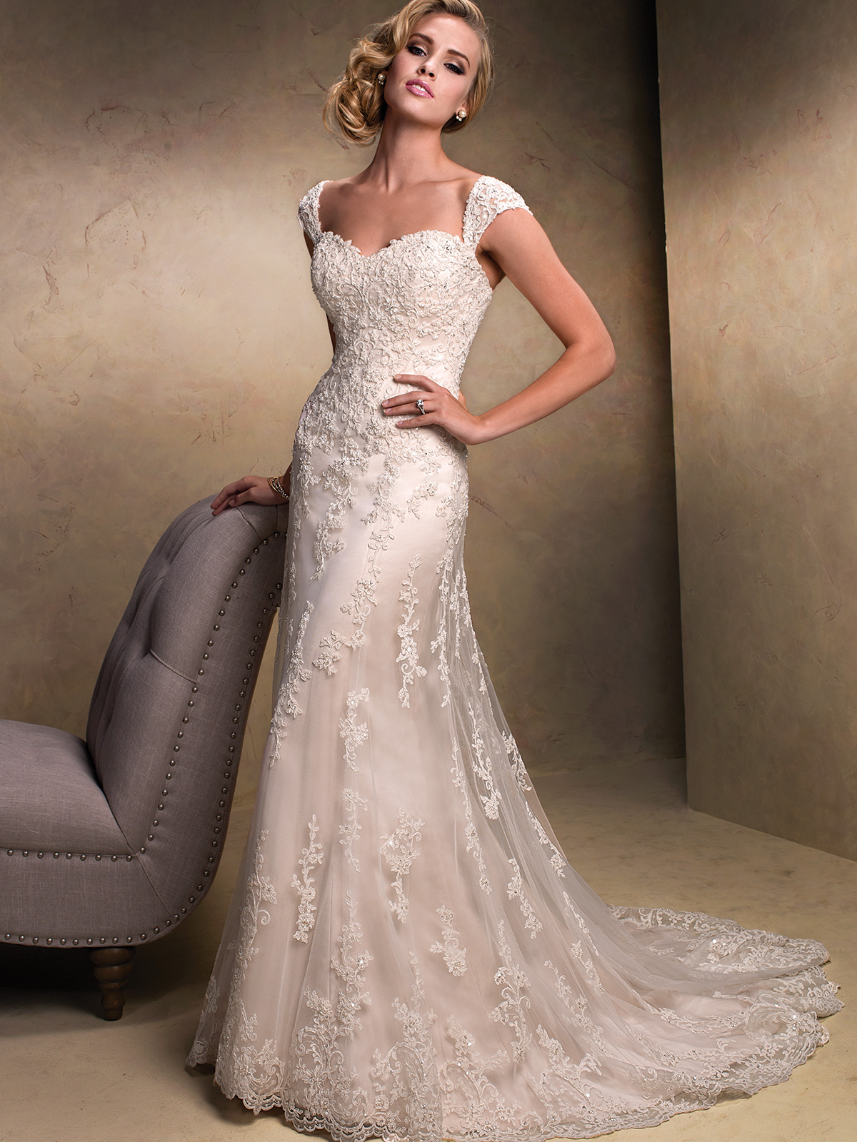 Strapless tulle lace wedding gown by maggie sottero emma for Maggie sottero couture wedding dress