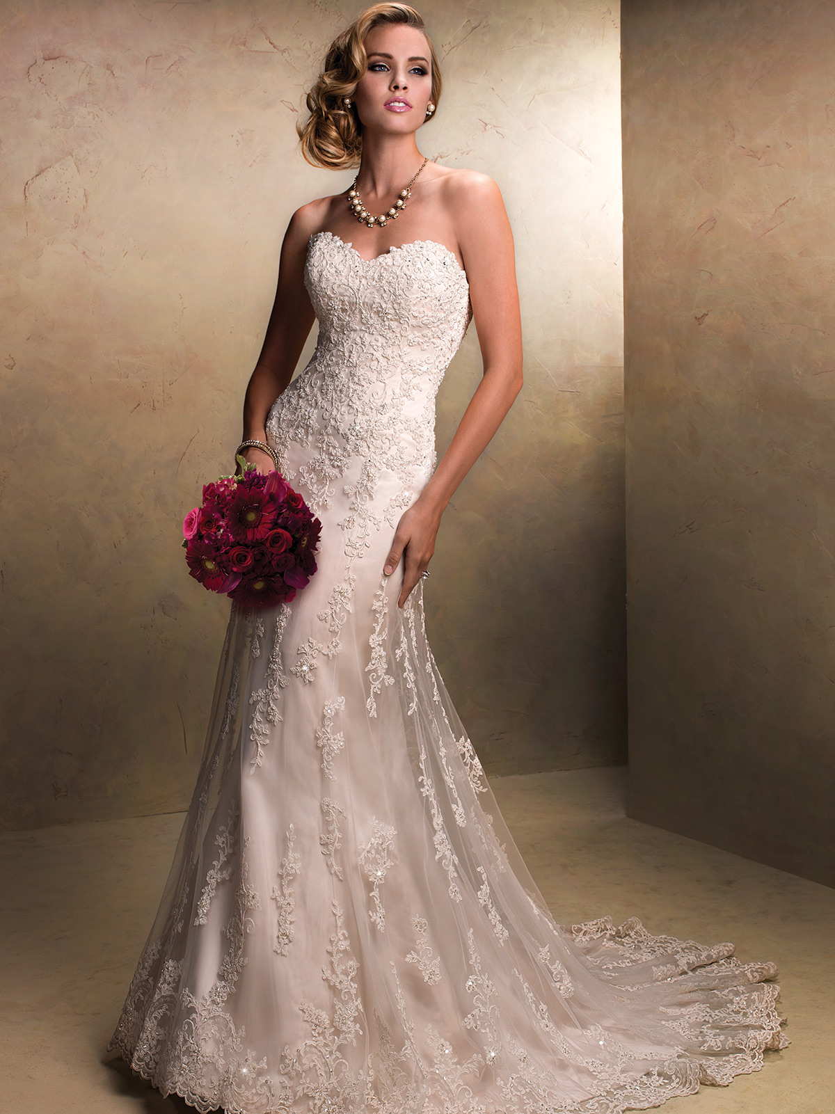 Strapless tulle lace wedding gown by maggie sottero emma for Maggie sottero mckenzie wedding dress