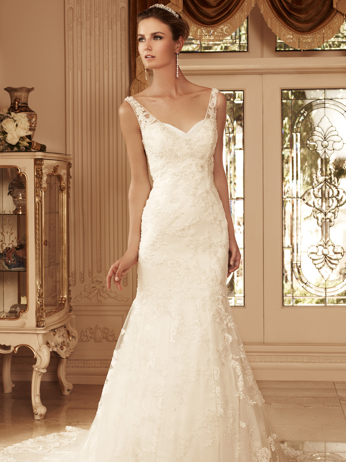 Sweetheart trumpet bridal gown casablanca bridal gown 2099 for Beading for wedding dress