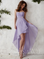 Sweetheart Chiffon High Low Christina Wu Occasions Bridesmaid Dress 22677