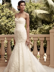 Sweetheart Crystal Satin Bridal Gown Casablanca 2115
