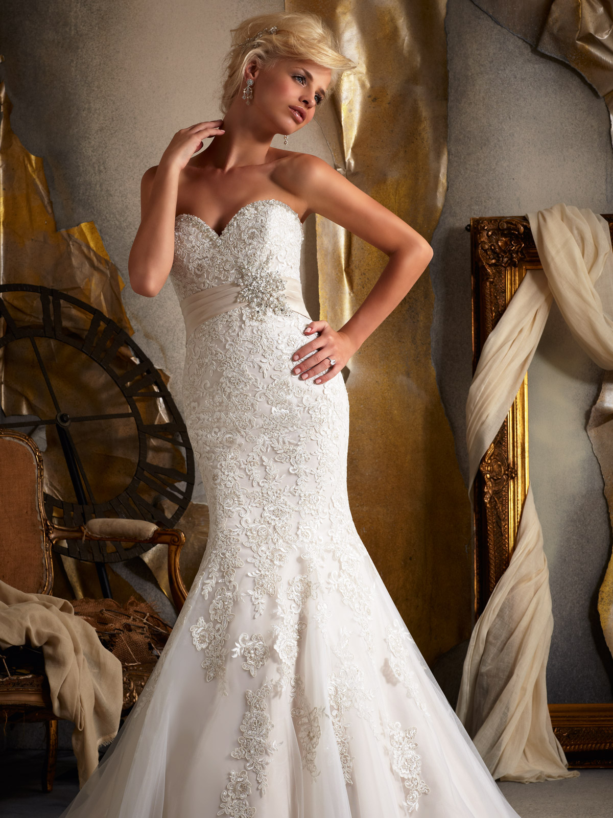 Sweetheart Fit And Flare Mori Lee Bridal Gown 1903|DimitraDesigns.com