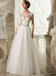 Sweetheart Lace With Tulle Ball Gown Mori Lee Blu Wedding Dress 5315