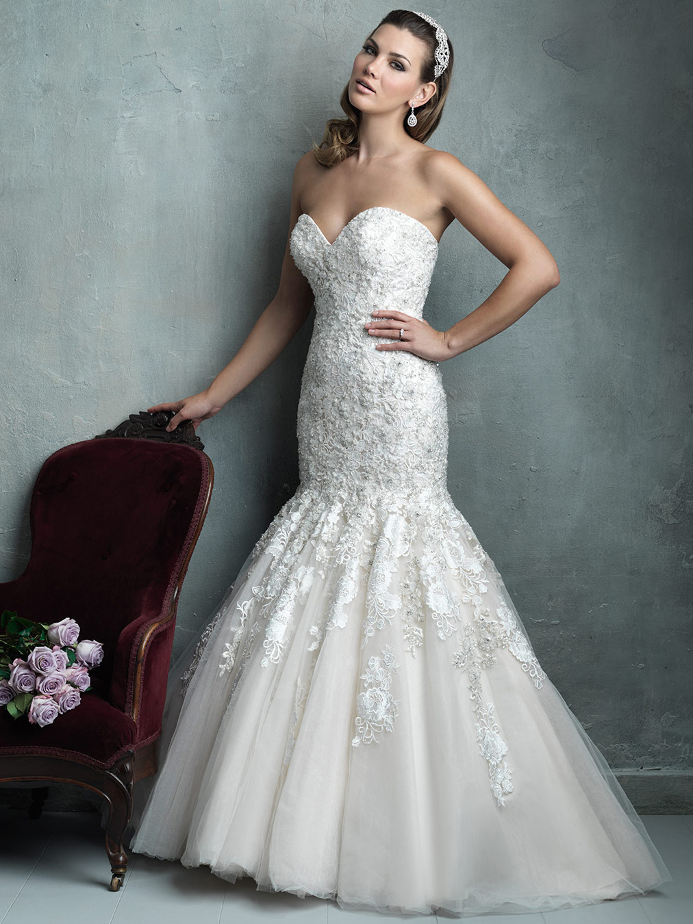 Allure Couture Sweetheart Mermaid Wedding Dress C331|DimitraDesigns.com