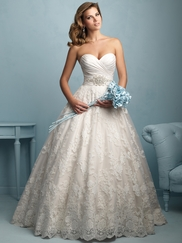 Sweetheart Pleated Ball Gown Allure Wedding Dress 9202