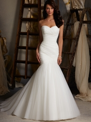 Sweetheart Pleated Bridal Gown Mori Lee Blu 5108