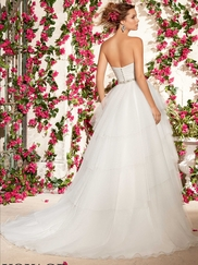 Sweetheart Ruche Tiered Ball Gown Mori Lee Voyage Wedding Dress 6796
