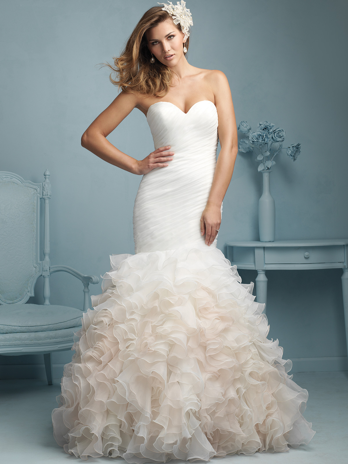 Allure bridal dress 9223 for Mermaid wedding dress with ruffles