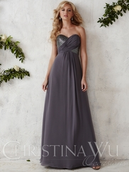 Sweetheart Sequin And Chiffon Floor Length Christina Wu Occasions Bridesmaid Dress 22687