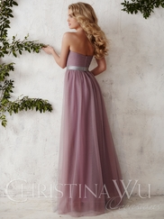 Sweetheart Tulle Floor Length A-line Christina Wu Occasions Bridesmaid Dress 22676