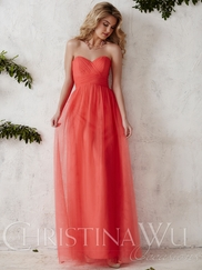 Sweetheart Tulle Flowing A-line Christina Wu Occasions Bridesmaid Dress 22689