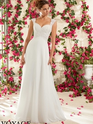 Sweetheart With Cap Sleeves Chiffon A-line Mori Lee Voyage Wedding Dress 6794