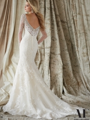 Sweetheart With Long Sleeves Beaded Lace Fit And Flare Angelina Faccenda by Mori Lee Wedding Dress 1321