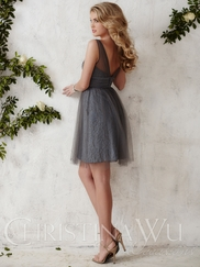 Tank Style Tulle Short Christina Wu Occasions Bridesmaid Dress 22685