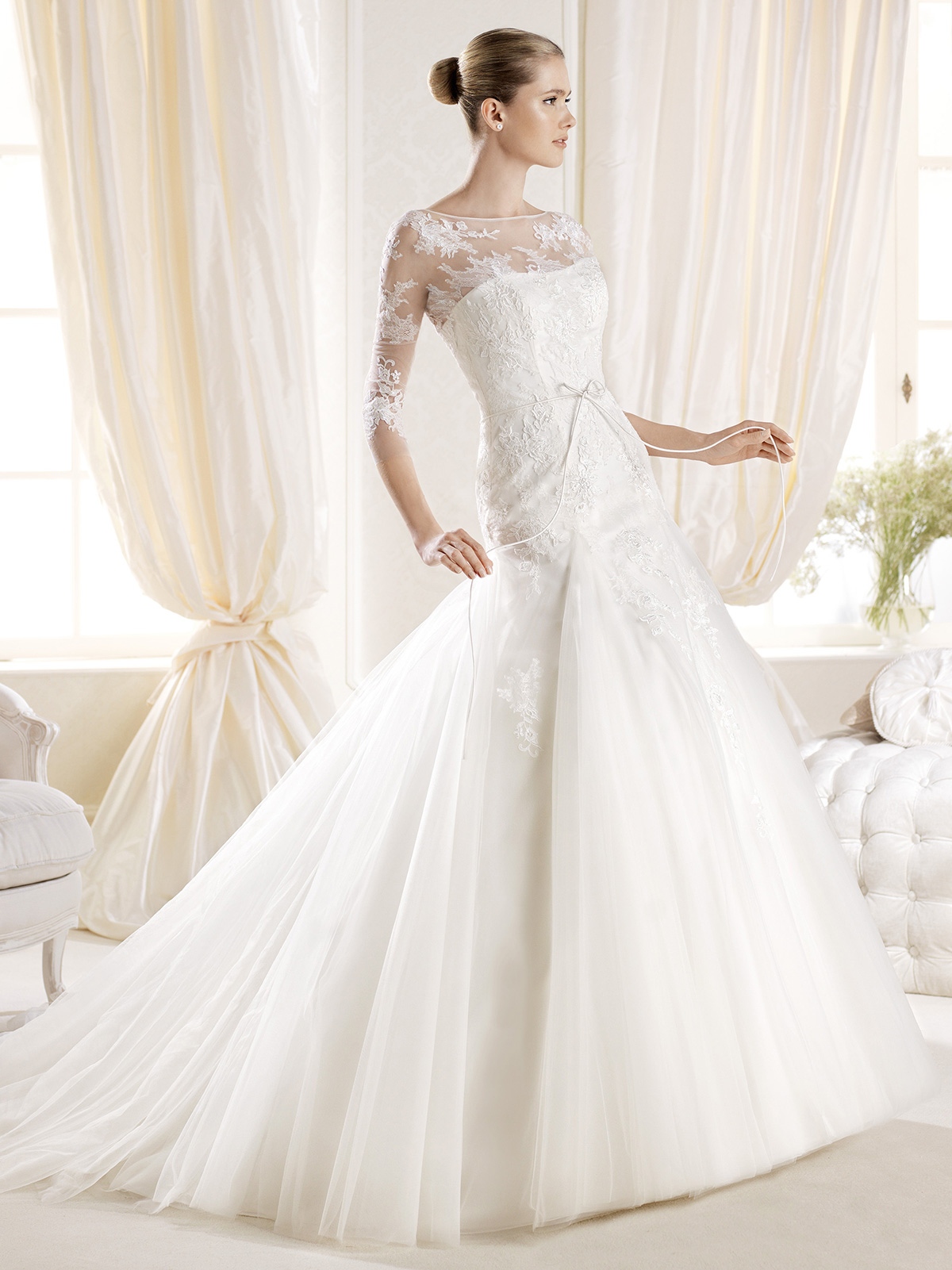 Wedding dresses with three quarter sleeves wedding for Wedding dresses with three quarter length sleeves