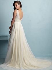 V-neck Beaded Lace Flowing A-line Allure Wedding Dress 9205