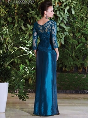 V-neck Beaded Lace Mother Of The Bride Dress Jade Couture K168005