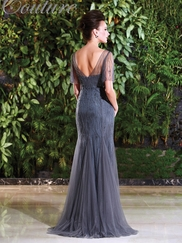 V-neck Beaded Mother Of The Bride Dress Jade Couture K168009