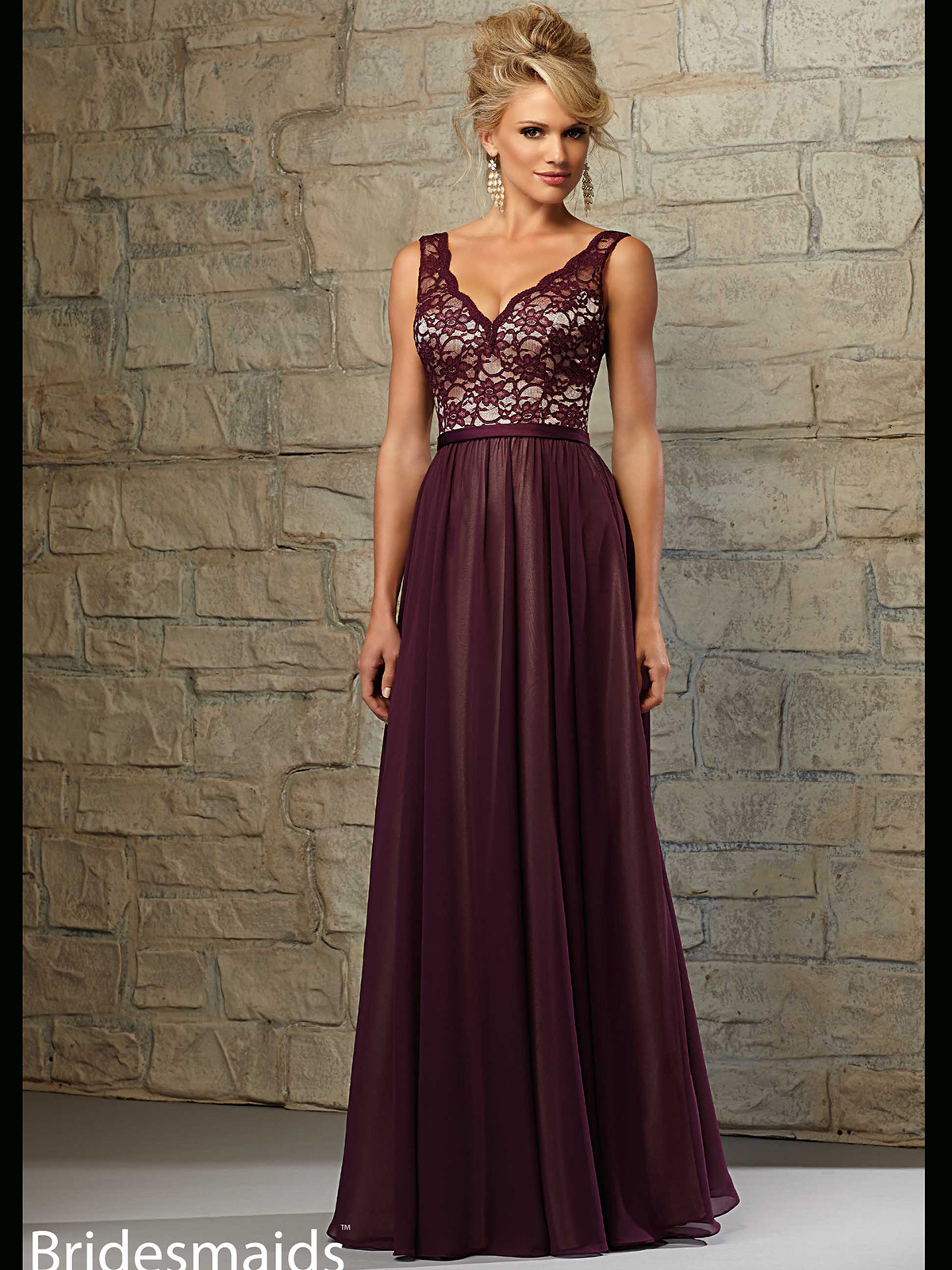Mori lee bridesmaid dress 714 dimitradesigns v neck lace and chiffon floor length a line mori lee bridesmaid dress 714 ombrellifo Image collections