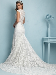 V-neck Lace Floor Length Allure Wedding Dress 9206