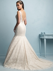 V-neck Lace Mermaid Allure Wedding Dress 9201