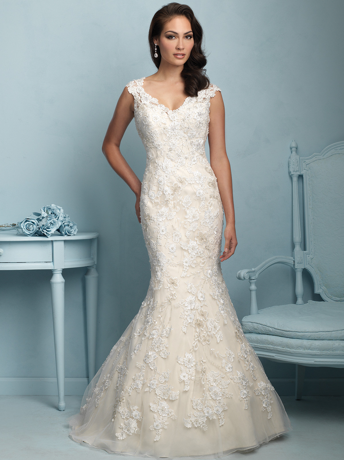 V Neck Lace Mermaid Allure Wedding Dress 9220