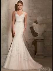 V-neck Lace Mermaid Mori Lee Wedding Dress 2715