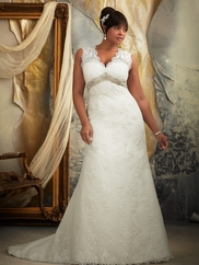 V-neck Laced Bridal Gown Mori Lee 3131