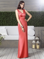 V-neck Pleated Bridesmaid Dress Dessy 2899