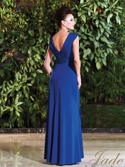 V-neck Ruched And Beaded Mother Of The Bride Dress Jade Couture K168001