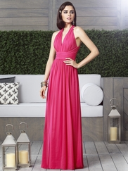V-neck Ruched Bridesmaid Dress Dessy 2908